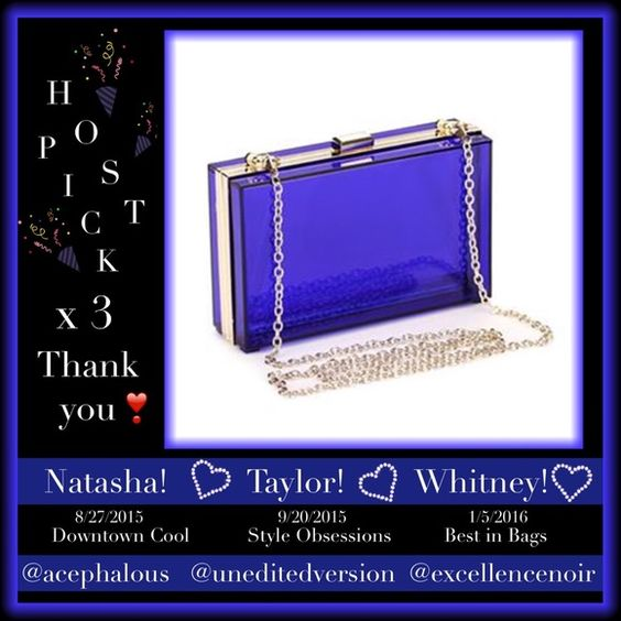 "HPx3!    CLEAR BLUE CLUTCH!  44"" Chain!  ☸Several available.  Please don't buy from this listing...I will make a new listing for you!  Just let me know!                                      ✨ Blue✨Classy✨Fun!✨  ✨ Removeable 44"" gold chain  ✨ Bags"
