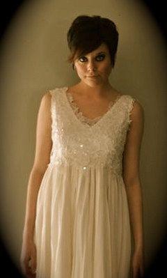Super elegant short ivory  dress romantic glam by SashCouture1, $995.00