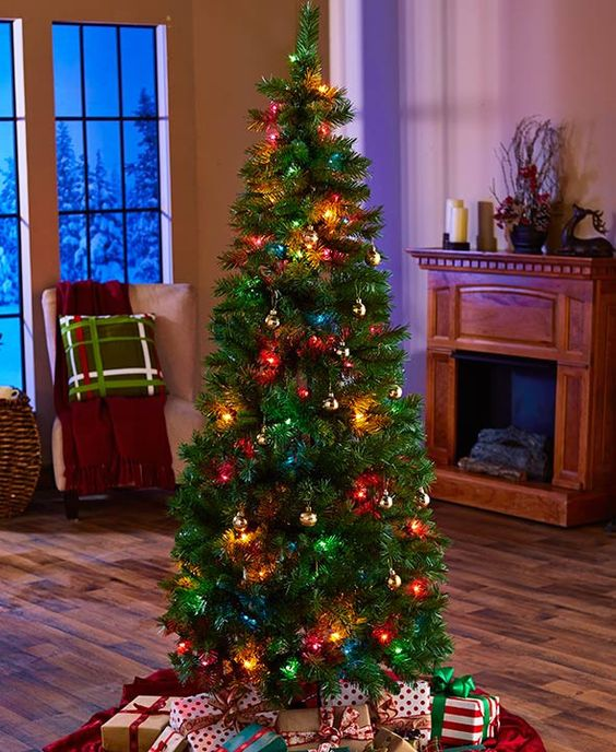 6-Ft. Pre-Lit Pop-Up Christmas Tree White Multi Colored Lights Easy Storage
