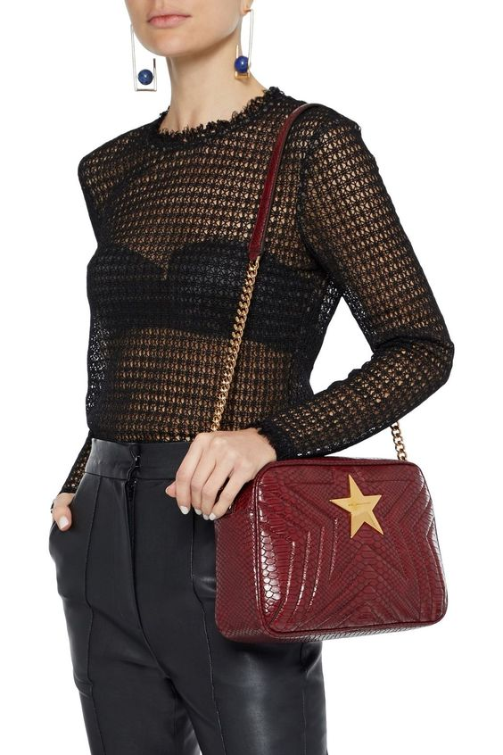 Claret Stella Star quilted faux snake-effect leather shoulder bag | Sale up to 70% off | THE OUTNET | STELLA McCARTNEY | THE OUTNET