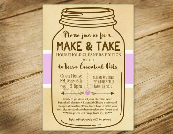 Make and take party essential oils diy party mason for Make it take it crafts