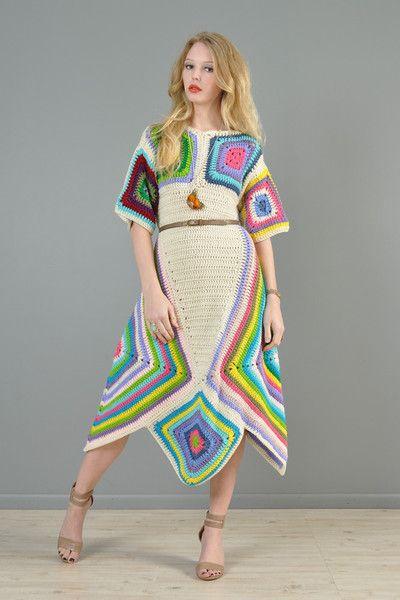 Rainbow Hand Crochet Scarf Hem Midi Dress