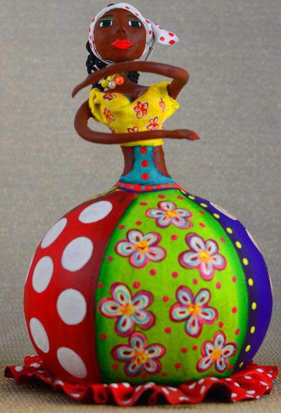 Artesanato Ou Artesanato ~ Boneca de Cabaça e Papel Mach u00ea Arte Papel Pinterest Cabaças, Cabaças pintadas e Pinturas