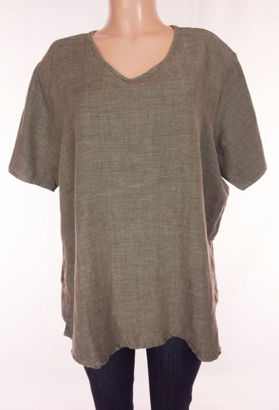 FLAX JEANNE ENGELHART Tunic Top Size L Large Heathered Green Linen Casual Weave #Flax #Tunic #Casual