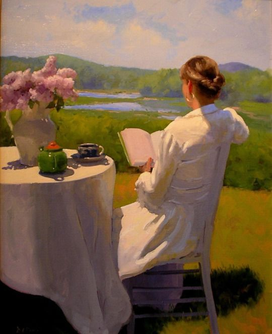 Reading by the Edge of the Marsh. Dennis Perrin (American). Oil.  Books and Art