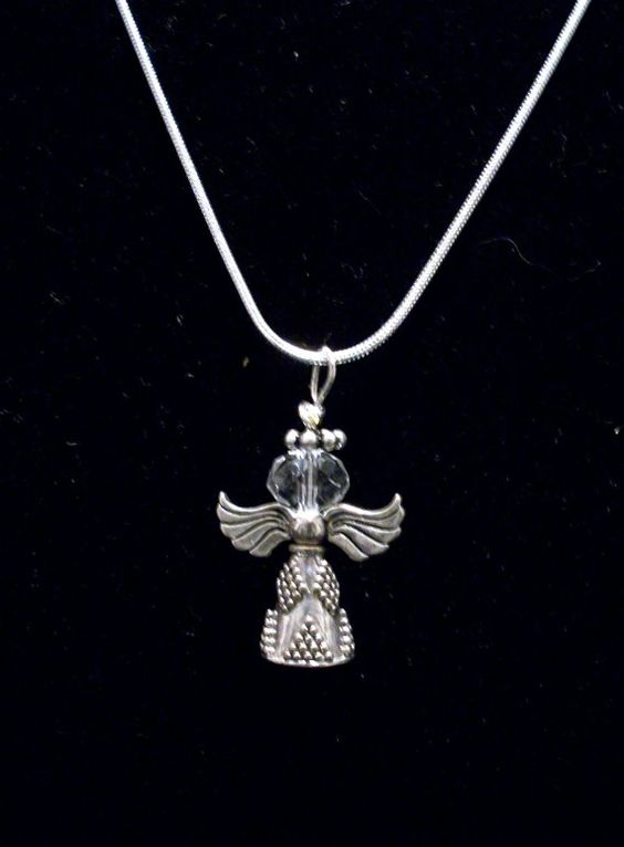 Beaded Necklace Sterling Silver Angel on Sterling Snake Chain by WhimsyFrills, $24.00