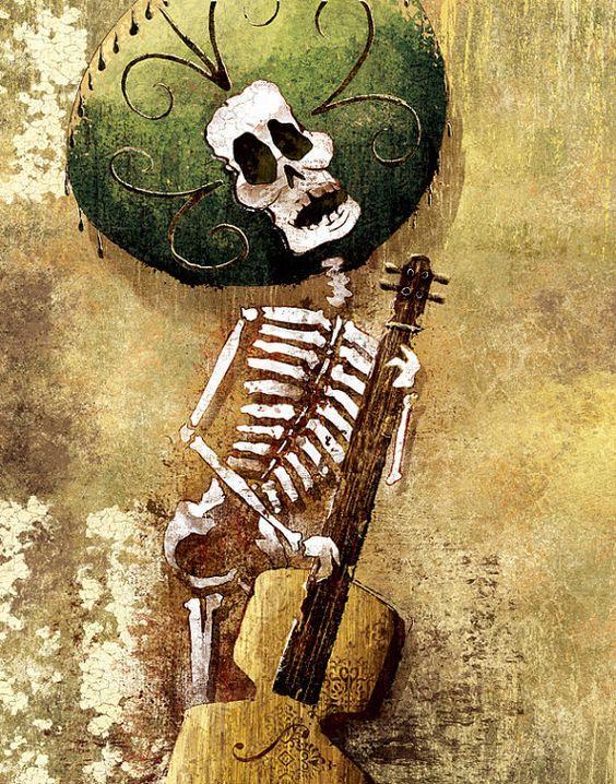 Dia de los Muertos Calavera Bassist