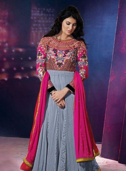 Grey Abaya Style Anarkali Salwar Kameez .  Shop at - http://www.gravity-fashion.com/beige-floor-length-anarkali-shalvar-kamiz-gf6140723.html
