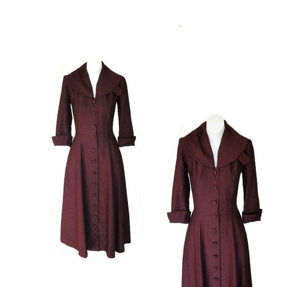 1940s Dress / 40s Dress / WWII Burgandy by Vintagephilosophy, $194.00