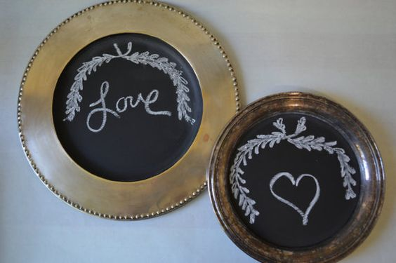 Pair of Chalk Board Tray / Platters by AtomicHostess on Etsy
