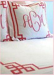 monogram and greek key- I love custom bedding like this.