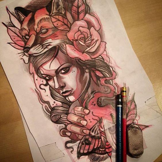 Neotradicional Tattoo, Tatuadores Tattoo, Empezar Rostros, Toni Donaire,  Pinos Ink, Catrinas, Referencias, Desing, Tatuajes Fantasmical