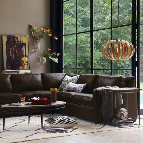 Nội thất phòng khách cực ấn tượng với sofa da thật tphcm