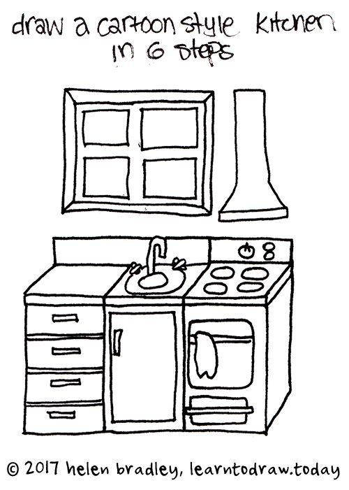 How To Draw A Cartoon Kitchen In 6 Steps Cartoon Drawings