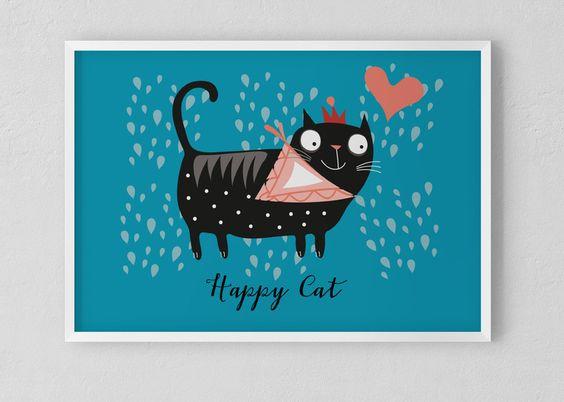 """Bilder - Kinderposter  """"Happy Cat"""" - ein Designerstück von nanajuu bei DaWanda"""