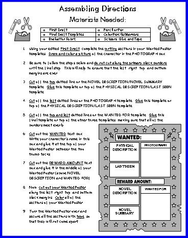 Wanted Poster Book Report Project templates, worksheets, rubric - printable wanted posters