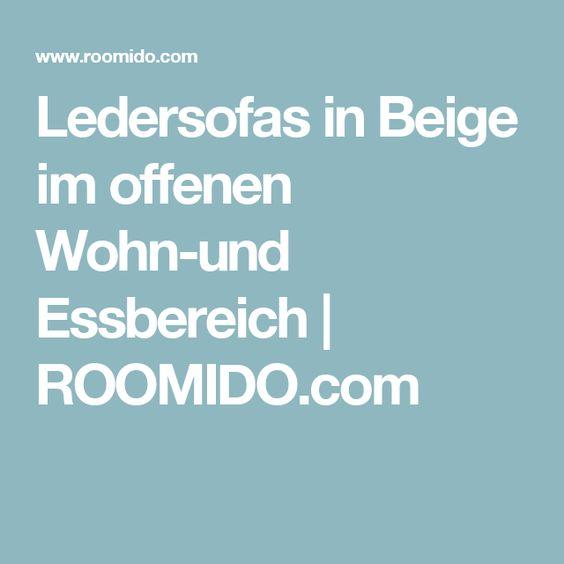 Ledersofas in Beige im offenen Wohn-und Essbereich | ROOMIDO.com
