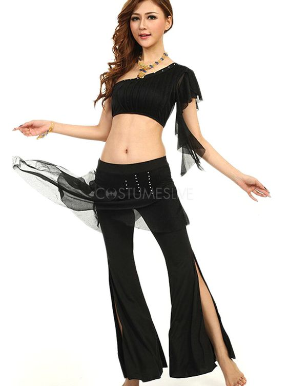 Attractive One-Shoulder Tulle Women's Belly Dance Outfits - Costumeslive.com by Milanoo
