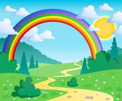 Childrens Wallpaper Cartoon Rainbow Wall Mural Wallpaper Ink