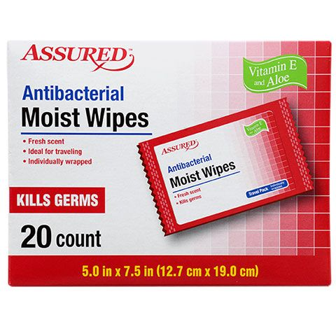 Bulk Assured Individually Wrapped Antibacterial Moist Wipes 20 Ct