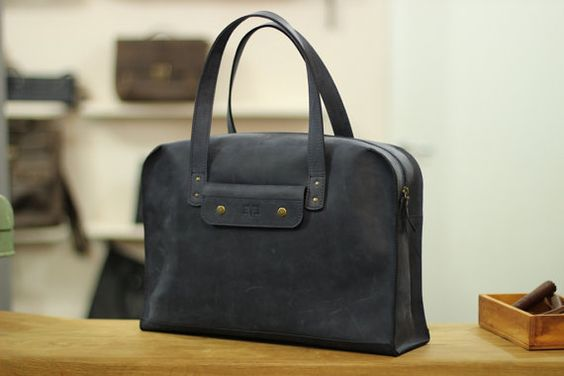 Handbag from genuine leather, hand-made leather bag for men, Taxi