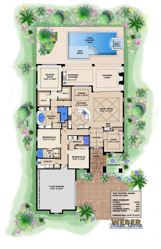 Spanish style floor plan 3913 s f single level 3x3 this for House plans 3 car garage narrow lot