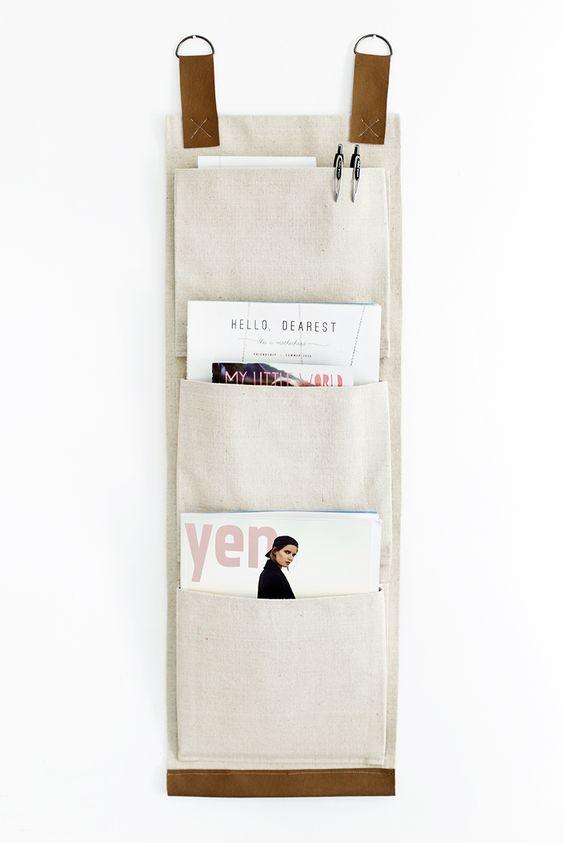 DIY: canvas wall pockets