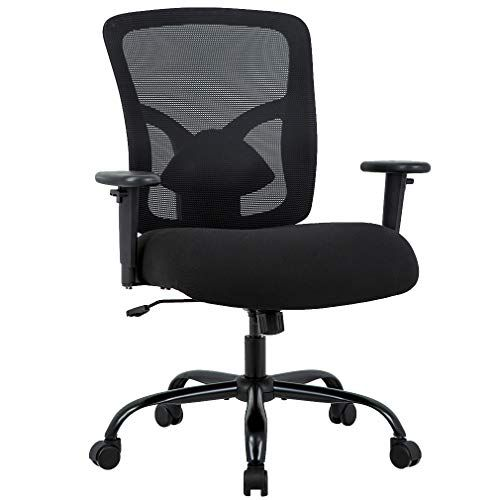 Big And Tall Office Chair 400lbs Desk Chair Mesh Computer Chair With Lumbar Support Wide Seat Adjust Arms Rolling Swivel High Back Task Executive Ergonomic Chai In 2020 Office Chair Ergonomic