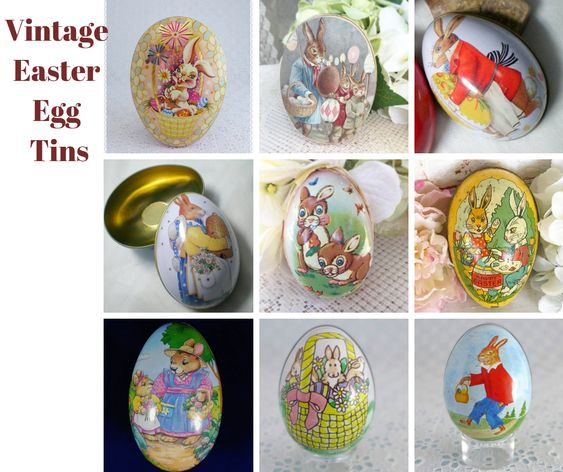 Vintage Bunny Tin Trinket Eggs