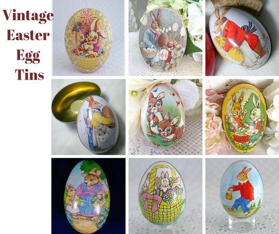 Vintage Bunny Tin Trinket Eggs