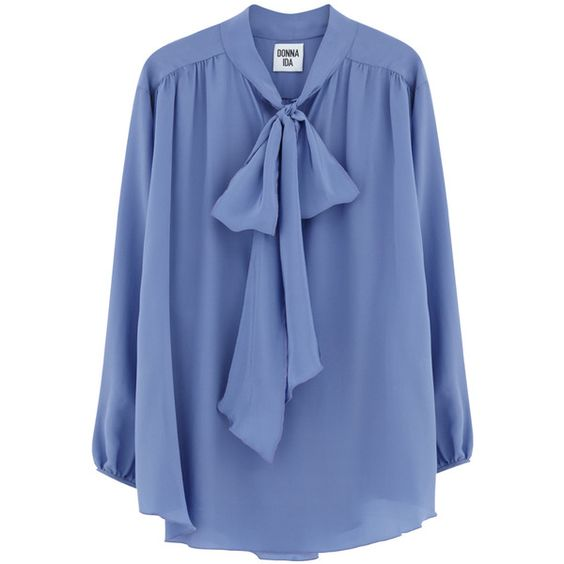 DONNA IDA Cut Loose Maggie Blouse - Liz Taylor's Eyes (€235) ❤ liked on Polyvore featuring tops, blouses, loose fit tops, loose fitting blouses, pastel tops, blue blouse and pleated blouse
