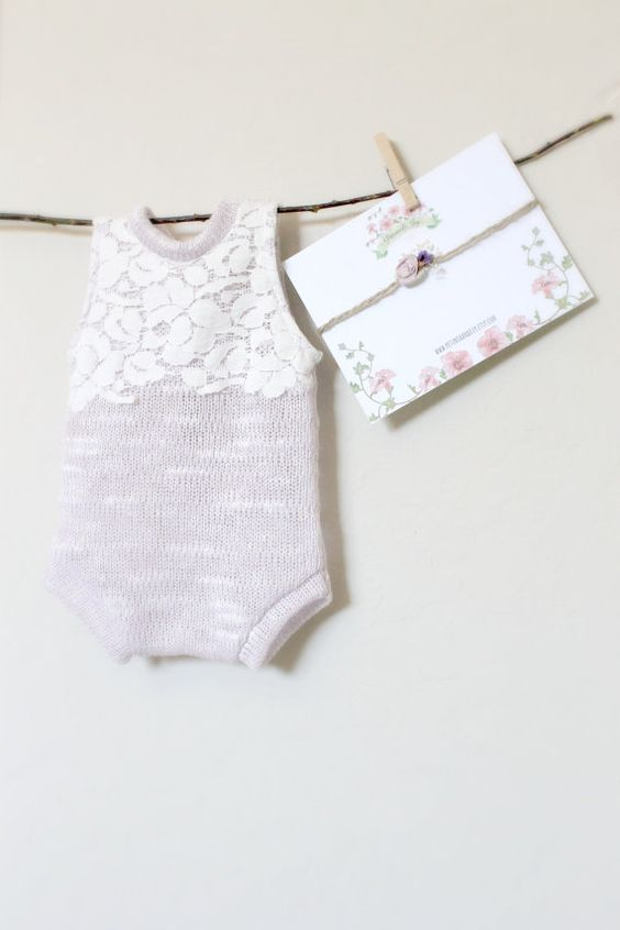 Newborn Lilac and Lace Romper Set baby girl by PetuniaandIvy