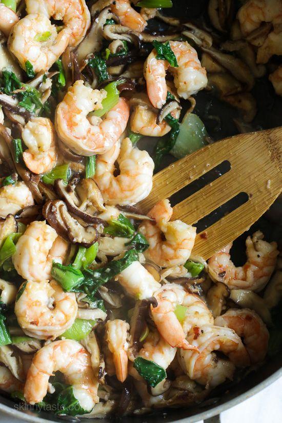 Garlicky Shrimp Stir Fry with Shiitakes and Bok Choys