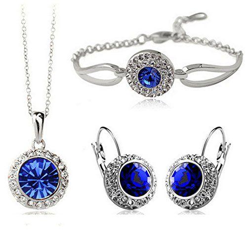 MAFMO White Platinum Plated Crystal Round Shaped Necklace...