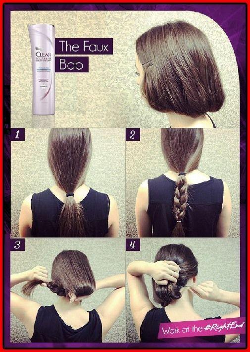 Wie Man Lange Haare Kurz Macht Faux Bob Hair Tutorials Haare Lange Macht Tutorials Simplehairstyletut Long Hair Styles Fake Short Hair Short Hair Styles