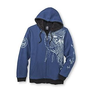 Sinister- -Men's Fleece-Lined Hoodie Jacket - Warrior Skull