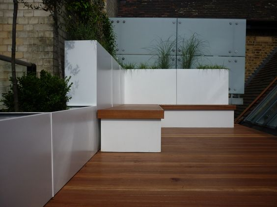 Roof terrace with hardwood deck, mobile benches & lightweight planters
