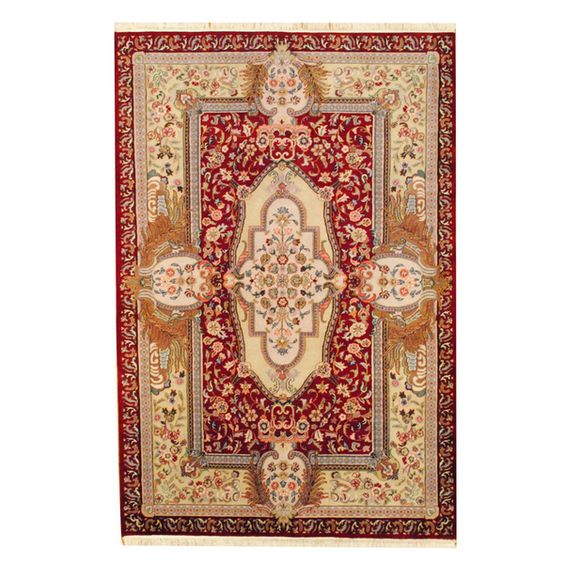 Herat Oriental Indo Hand-knotted Aubusson Red/ Ivory Wool Rug (6'1 x 9'1)