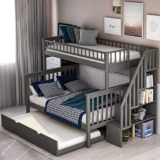 Twin Over Bunk Bed Lower Berth Double Bed Upper Bunk Single Bed With Guard Rail Storage Cabinet Bunk Beds With Storage Bunk Bed With Trundle Kids Bunk Beds Full size bunk beds for kids