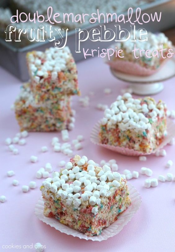 DOUBLE MARSHMALLOW FRUITY PEBBLE KRISPY TREATS  makes 35 krispie treats    Ingredients    8 cups Rice Krispies  4 cups Fruity Pebbles  1/2 cup butter (1 stick)  2 (10.5 oz) bags of mini marshmallows.  1 container of Jet Puffed Mallow Bits, plus more for garnish