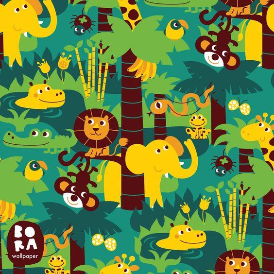 Deze vrolijke jungle zit vol met dieren. Zie jij de olifant, leeuw, apen en krokodil ook? En de giraf en het nijlpaard? Voor een originele, retro kinderkamer.