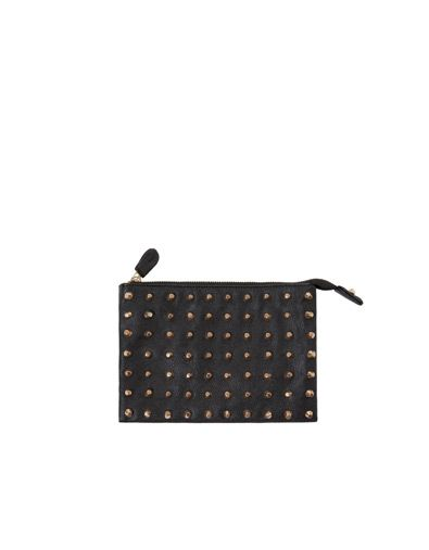 COIN PURSE WITH CONICAL GOLD STUDS, BLACK - ZARA