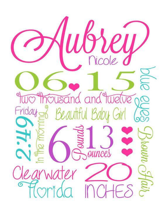 Printable Baby Girl Birth Announcement Custom Kids Print Nursery – Inexpensive Birth Announcements