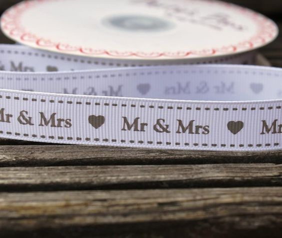 Mr & Mrs grosgrain 15mm wide printed ribbon for by scratchycat, $1.00
