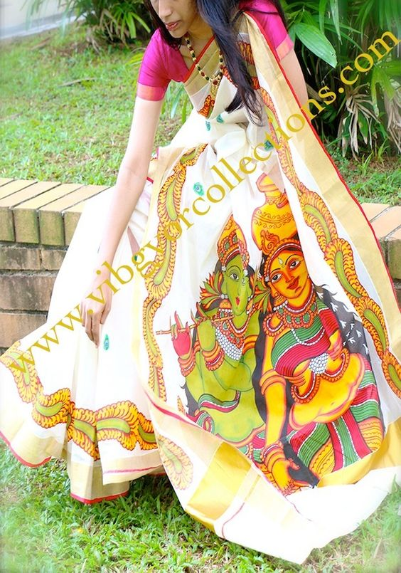 Mural hand painted saree on handloom kasavu radha for Aithihya mural painting fabrics