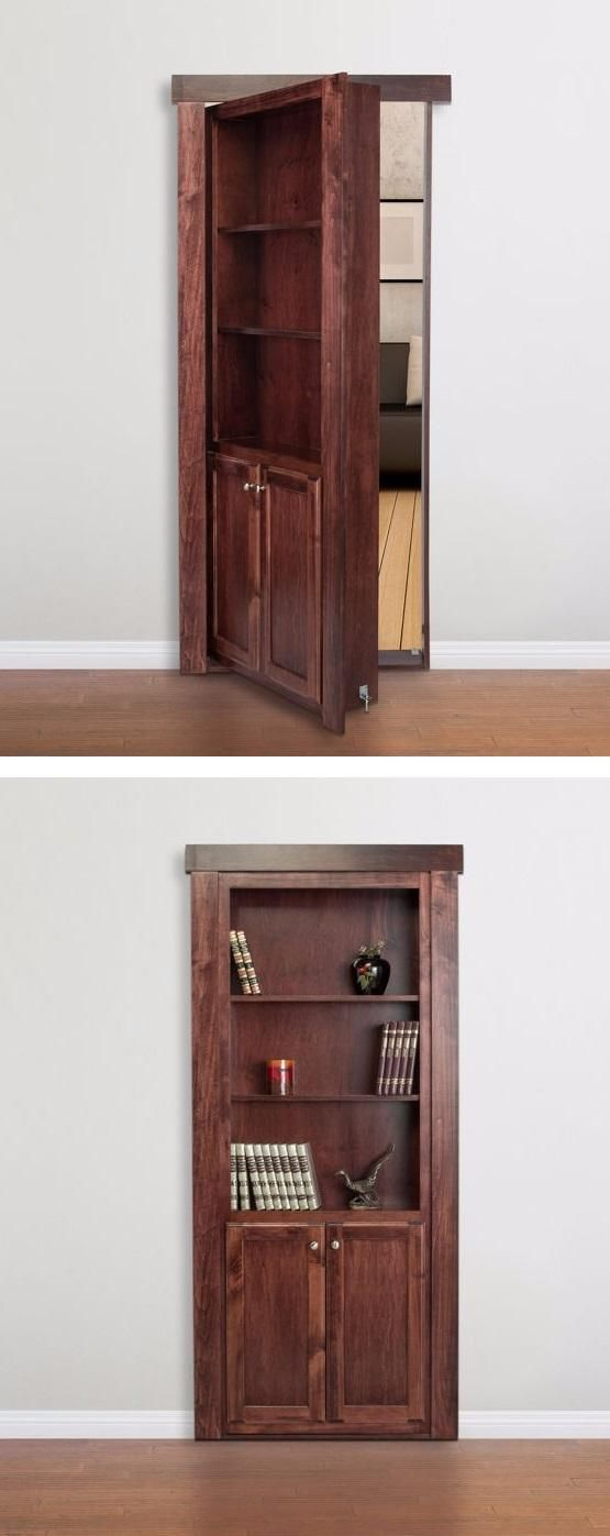 Transform any doorway into a beautiful bookcase that not only serves as a door but as a bookshelf/storage space as well! Whether you are short on space, want to conceal utility or storage areas, or create a secret passageway.