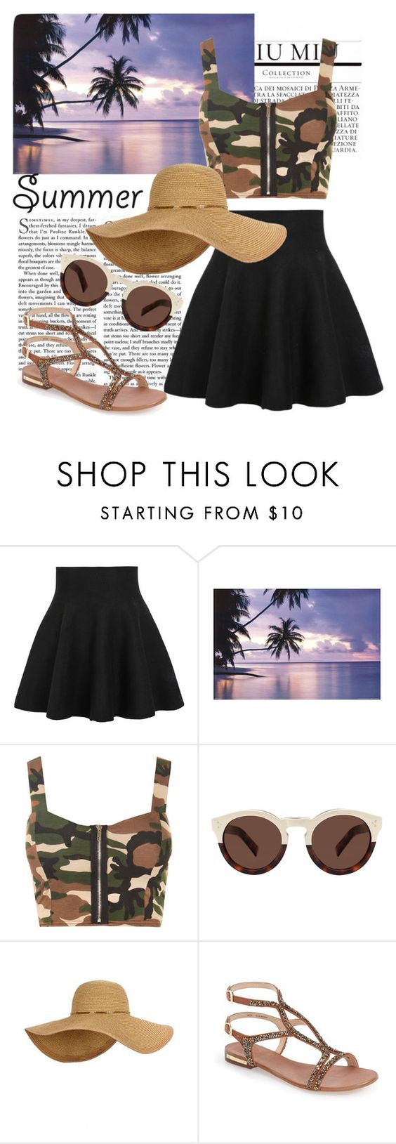 """""""Camouflage in summer"""" by almightyxx ❤ liked on Polyvore featuring WithChic, WearAll, Illesteva and Vince Camuto"""