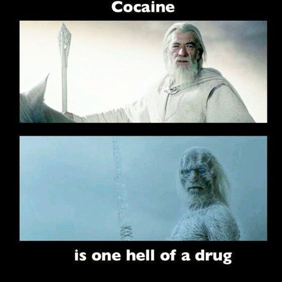 He wasn't called Gandalf the White for nothing! #cocaine #lotr #gandalf #got #lordoftherings #gameofthrones #Whitewalkers #davechappelle #chappelleshow #charliemurphy #instafunny #hahaha #funny #meme #nerdlife #nerdhumor #nerdlifenation #nerdy #tattoos #tattoo #tattooedgirl #girlswithshavedheads #savage #nochill