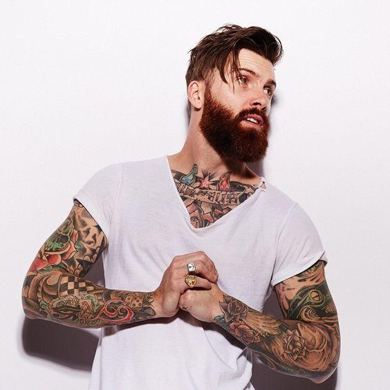 Levi Stocke - full thick dark red beard and mustache beards bearded man men tattoos tattooed auburn ginger redhead bearding #beardsforever