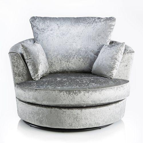 Zinc Swivel Tub Chair Castleton Home Upholstery Silver Velvet